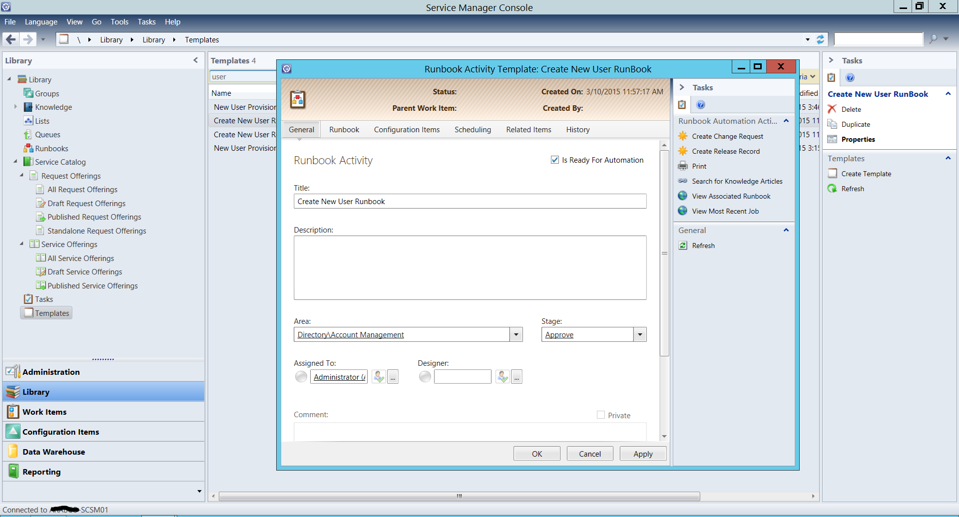 Automate user creation with orchestrator and service for Server runbook template